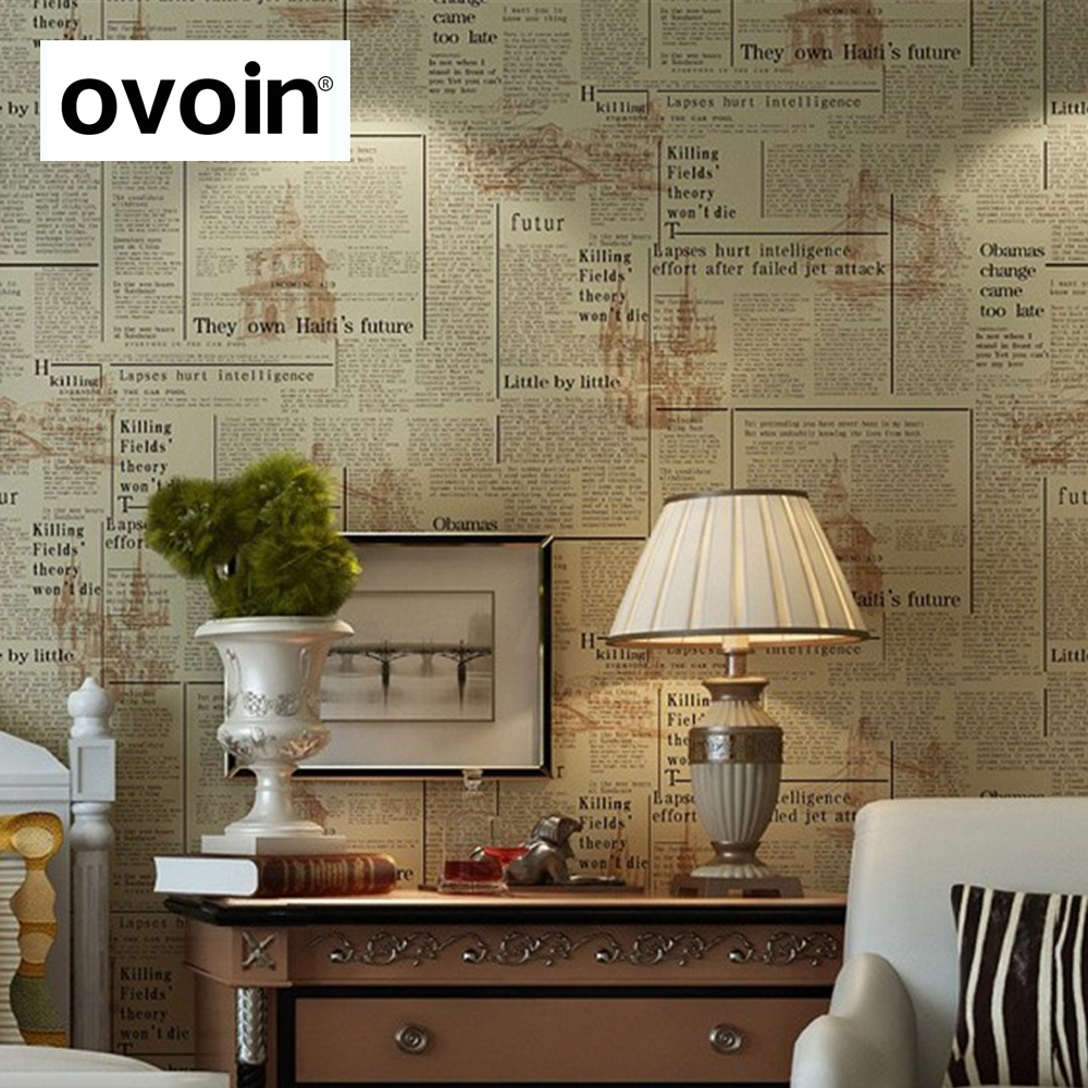 Old english letter newspaper vintage wallpaper vinyl wall for Wallpaper home vintage