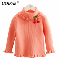 Children Sweater Girls 2017 Autumn Fashion Cherry Knitted Sweater For Girls Long Sleeve Cute Solid Color