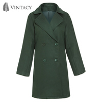 Women Casual Overcoat Office Lady Button Winter Autumn Coats Black Army Green Coffee Jacket Elegant Notched Lapel Warm Long Coat