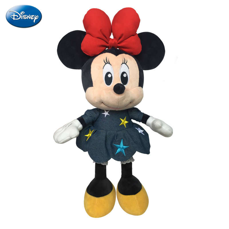 Original Disney Minnie Mouse Plush Dolls Cowboy Fashion Disney Toys for Baby Kids Girls Birthday Gift Mickey Mouse Stuffed Doll image