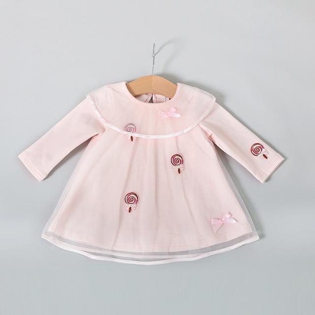 5db20bd0b4ef 2017 Spring And autumn infant dress lace mesh Doll collar princess ...