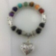 B001 seven colors stone hearrt bracelet