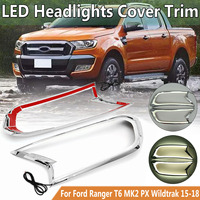 LED Headlight Lamp Cover For Ford Ranger T6 MK2 PX Wildtrak 2015 2016 2017 2018 Trim ABS Lamp Hoods Head Light Shell Auto Parts