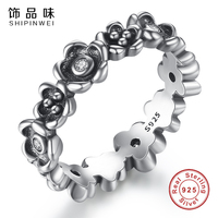 Shipinwei Real 100 925 Sterling Silver Rings With Cherry Blossom Stackable Daisy Ring For Women European