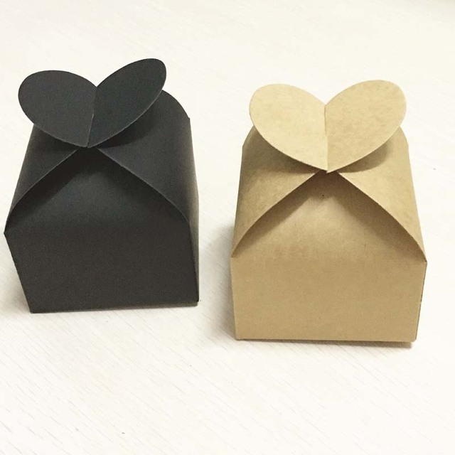 Us 38 0 100pcs Kraft Wedding Party Decoration Lovely Candy Boxes With Heart Wedding Party Favor Gift Boxes Diy Candy Cookie Gift Boxe In Jewelry