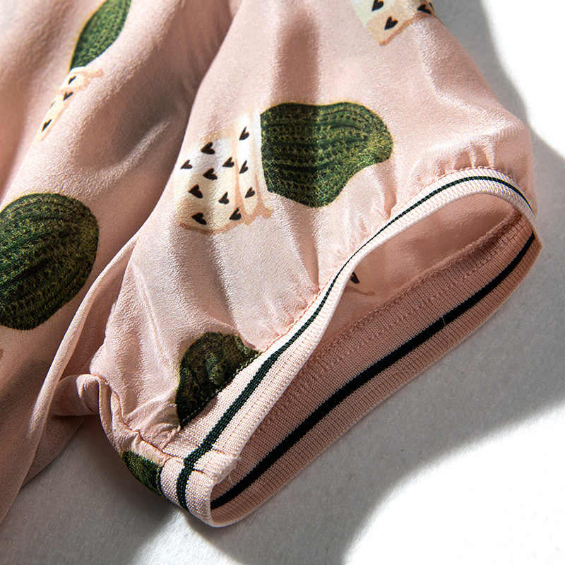 Женская блузка, 100% натуральный шелк, креп, розовая, с принтом, блузка, рубашка с круглым вырезом, весна-лето 2019, рубашка с коротким рукавом