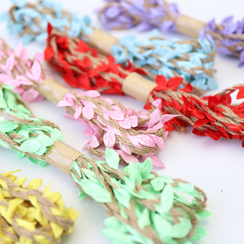 10m 5mm Simulation Green Leaves Weaving Hemp Rope Diy Birthday Party Wedding Decoration Rattan Gift Bouquet Packaging Rope 5mm