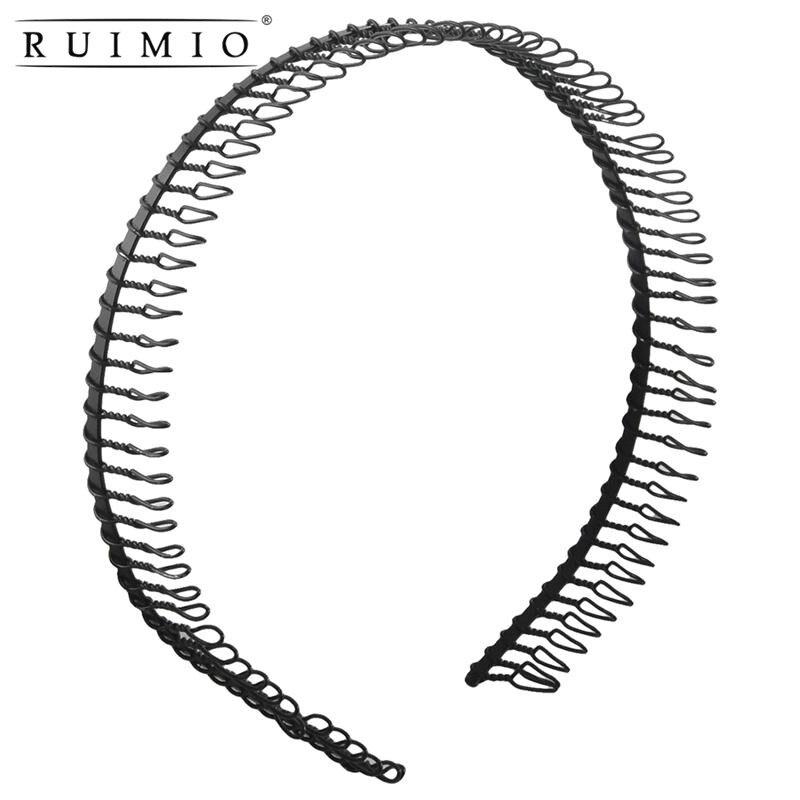 Woman Metal Teeth Comb Hairband Hair Hoop Headband Unisex Black Hair Accessories Head Band Headband Hairband Hairpin (Black)