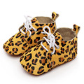 Baby Striped and Leopard First Walker Newborn Horse Hair Genuinu Leather Shoes Infant Lace-Up Anti-slip Soft Soled Shoes