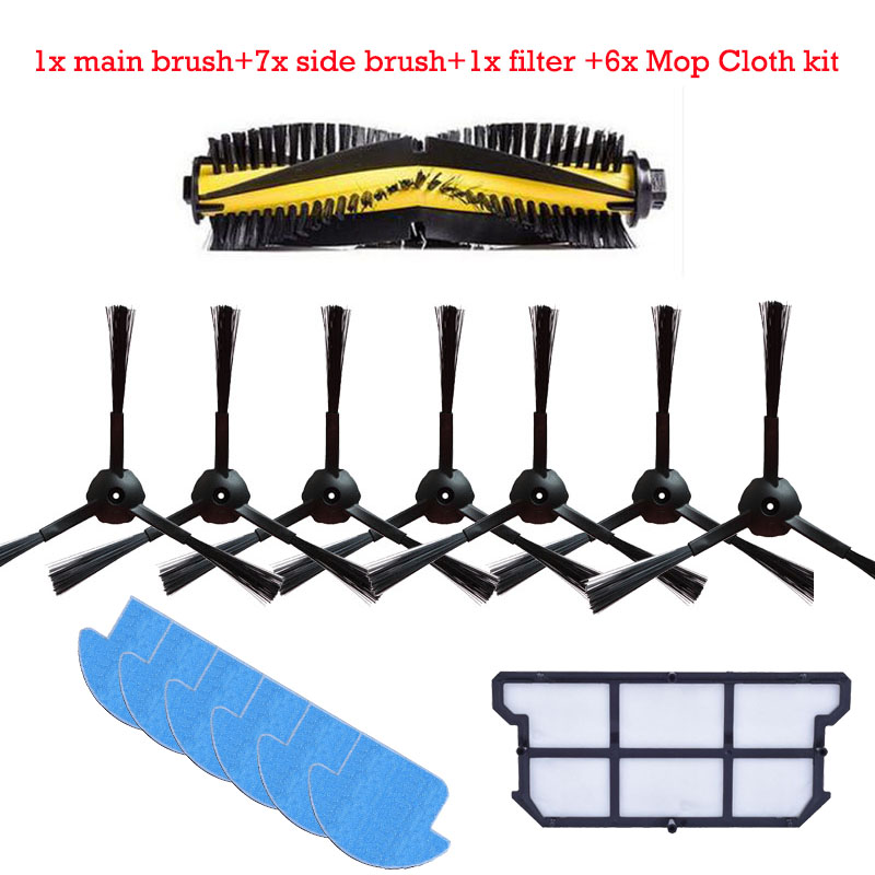 1x main brush+7x side brush+6x Cleaning Mop Cloth+1x hepa filter kit for chuwi ilife v7s v7s pro Robotic Vacuum Cleaner parts forx5s robot vacuum cleaner side brush 4 main brush 1 rubber brush 1 mop cloth 2 hepa filter 2 primary filter 2 front wheel 2
