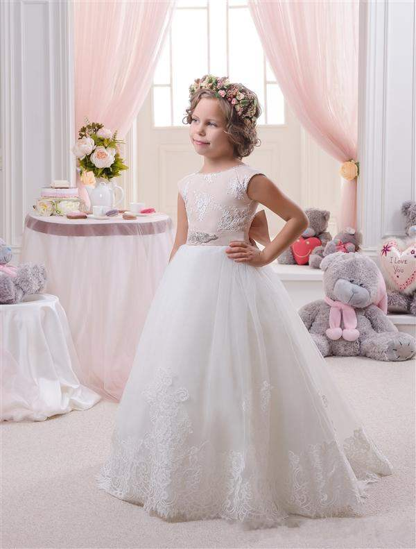 Elegant White and Champagne First Communion   Dresses   for   Girls   2019 High Quality Belt With Satin Bow Knot   Flower     Girl     Dresses