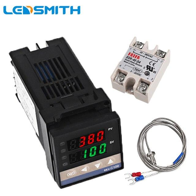 REX C100 Двойной цифровой ПИД регулятор температуры от 0 до 400 градусов, термостат SSR, выходные комплекты с датчиком зонда типа K