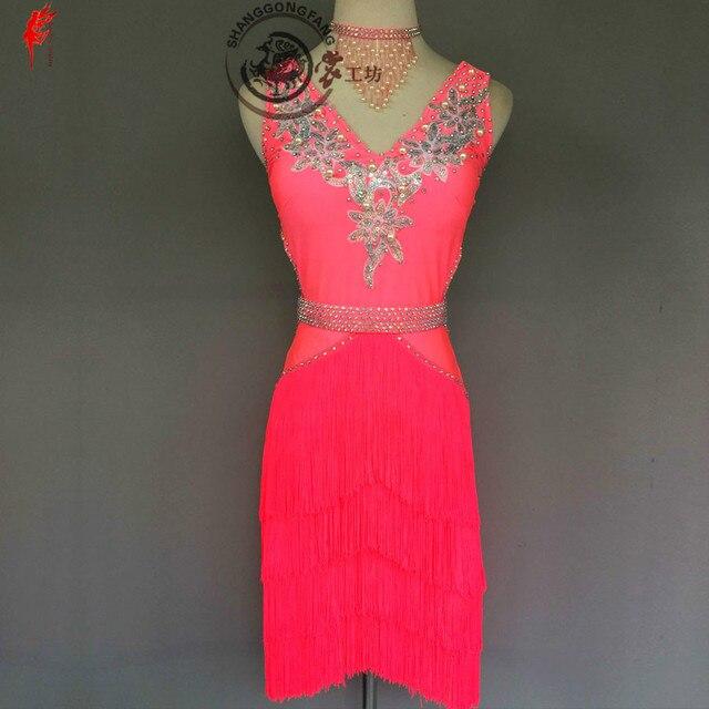 Donne Del Ricamo di lusso abbigliamento per la danza latino spandex pietre latino vestito da ballo della signora di ballo latino vestiti di prestazione delle ragazze del vestito
