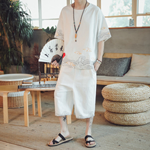 LOLDEAL Two-piece T-shirt Short-sleeved Cropped Trousers Casual Mens Sportswear Loose Cotton Suit Men Sets