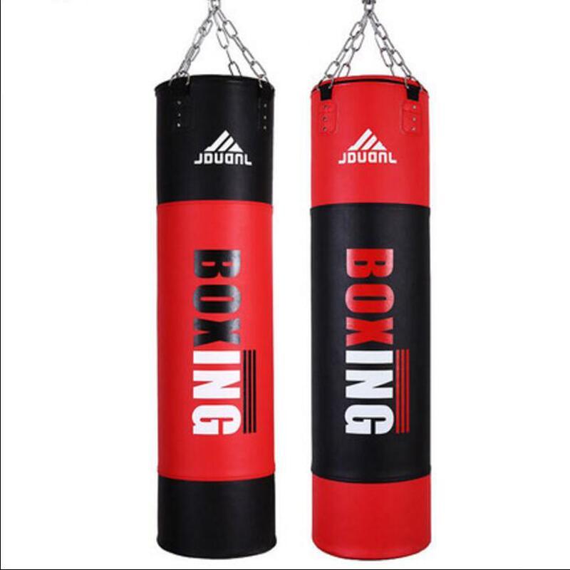 Rouge noir 120*30 cm MMA Muay Thai vide sac de boxe saco de boxe Punch sacco boxeo combat Taekwondo gratuit Sparring entraînement sac de sable