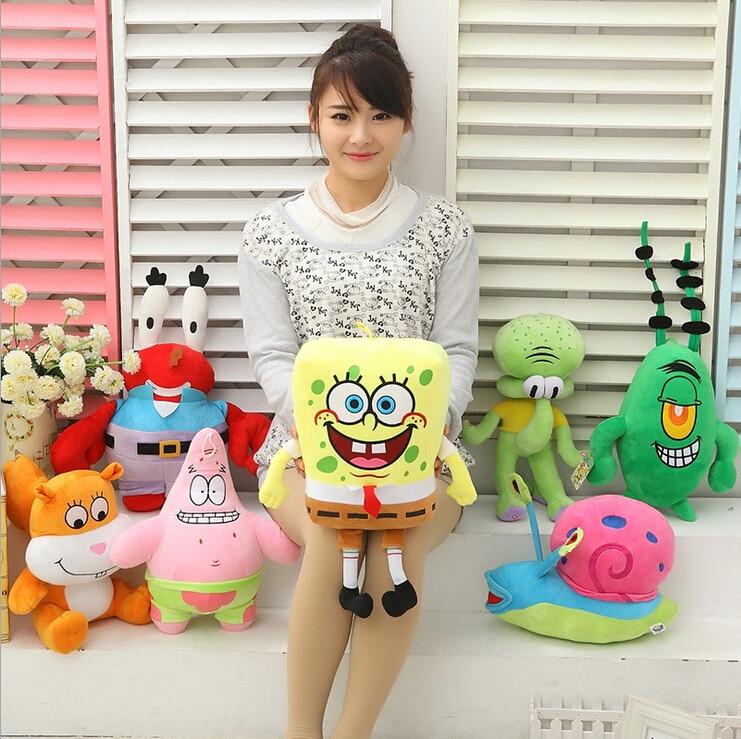 7pcs/set Super Cute Soft Plush Spongebob,Patrick star,Squidward
