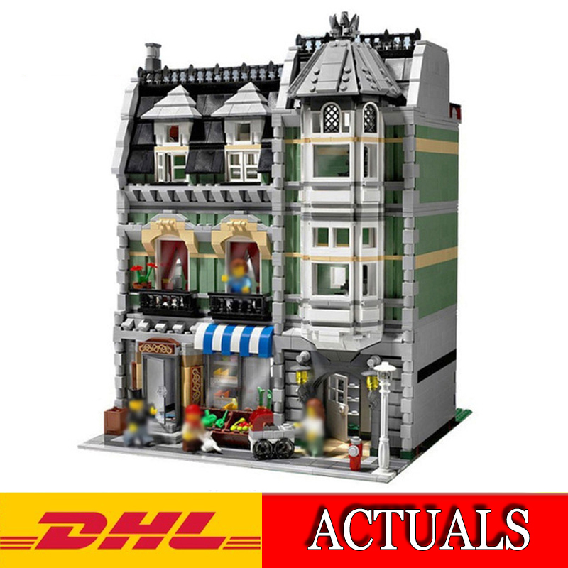 2018 New Lepin 15008 2462Pcs City Creator Green Grocer Model Building Kit Blocks Bricks Educational Kids Compatible Toys 10185 dhl lepin15008 2462pcs city street green grocer model building kits blocks bricks compatible educational toy 10185 children gift