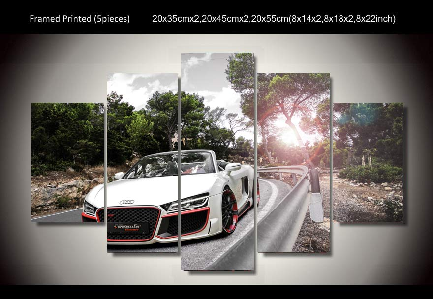 framed printed car audi spyder 5 piece picture painting wall art childrens room decor poster canvas