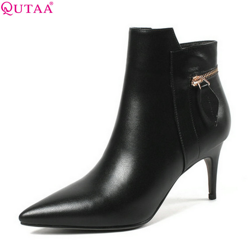 QUTAA 2019 Women Ankle Boots Thin High Heel Pointed Toe Genuine Leather+Pu Winter Shoes Women Motorcycle Boots Big Size 34-43 pointed toe high heels nubuck leather winter deep mouth thin heel big size mature leopard print stilletos shoes for women