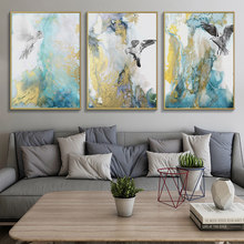 Nordic Minimalist Wall Art Abstract Pictures Pigeon Posters and Animals Prints Hand Painted Colorful Canvas Painting Home Decor(China)