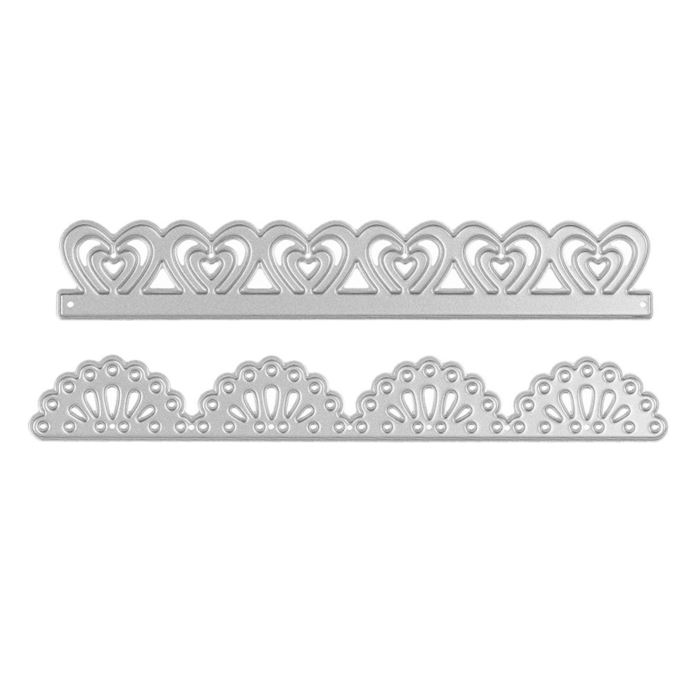 Scrapbook paper lace - 2pcs Set Lace Heart Border Metal Cutting Dies Stencil Scrapbook Paper Card Embossing Diy Craft