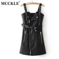 MCCKLE PU Leather Women Dress Spring Summer Fashion Sashes Zipper Vintage Mini Dresses Slim Sexy V