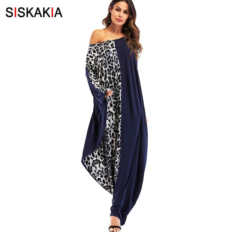 Siskakia surdimensionné femmes robe Printemps Automne 2018 lâche manches chauve-souris robes Musulman de mode Léopard patchwork d'impression plus la taille robes