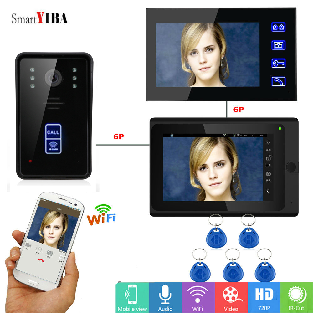 SmartYIBA RFID Wifi Smart Video Intercom System Video Record Take Photo Video Doorbell Interphone Home Door Phone Intercom Kits