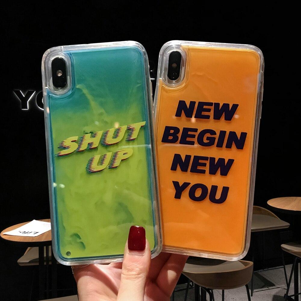 10 PCS New Case Neon Liquid Quicksand Back Cover Luminous Sand Liquid Case For iPhone XS