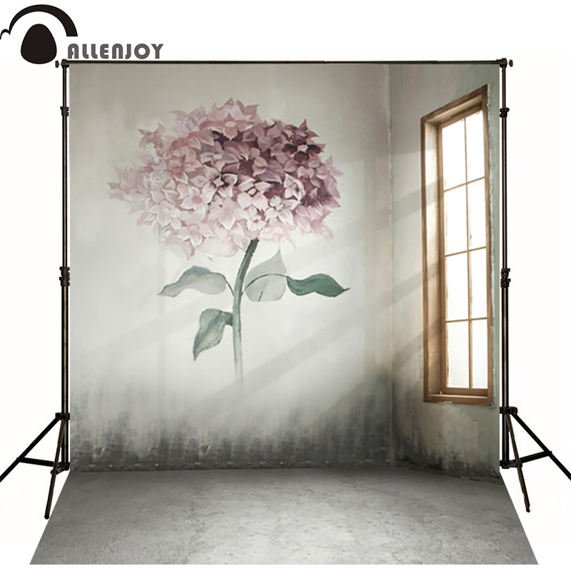 150*215cm(5ft*7ft) photography backdrops backgrounds for photo studio Interior walls painted with flowers windows 300cm 200cm about 10ft 6 5ft backgrounds wood frame windows papered photography backdrops photo lk 1583