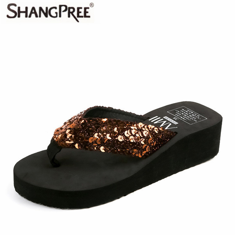 2017 Hot Women Flip Flops Wedges Platform Slippers Beach Thick Heel Shoes Summer Sandals Lady Slippers senza fretta summer women indoor flip flops high heel flowers slippers thick beach flip flops sandals wedges platform slippers