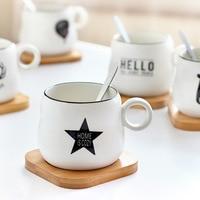 420ML Bamboo Mat Breakfast ceramic cup with spoon mug simple Creative coffee cup breakfast milk Cup