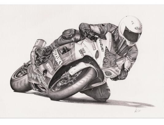 Las Carreras De Motos Dibujo Hom Decoración Realista Pintura Al