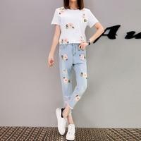 A Set Clothing Women European Floral Fashion New White T Shirt Jeans Beading Hole Leisure Two Piece Casual Denim Suit S XL
