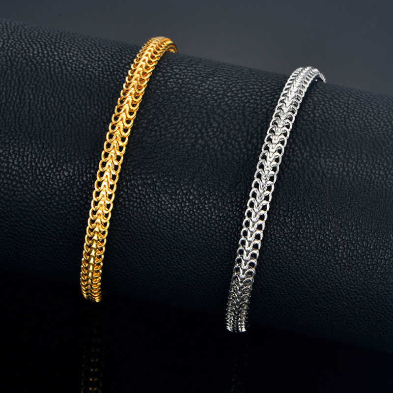 Women's Men's Bracelet 2018 Wholesale Braslet Silver/Gold Color 4.5mm Hand Chain Link Bracelet For Women/Men Jewelry
