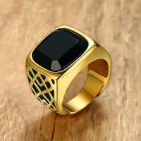 Hombres cuadrado negro Carnelian Semi-preciosa piedra Signet anillo en tono dorado acero inoxidable para joyería masculina Anillos Accesorios