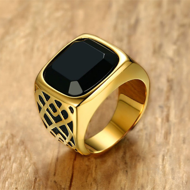 Men Square Black Carnelian Semi-Precious Stone Signet Ring in Gold Tone Stainles