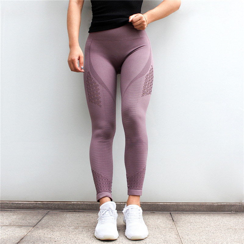 Diqian Super Stretchy Women Gym Tights Energy Seamless Tummy Control Yoga Pants High Waist Sport Leggings Purple Running Pants 2