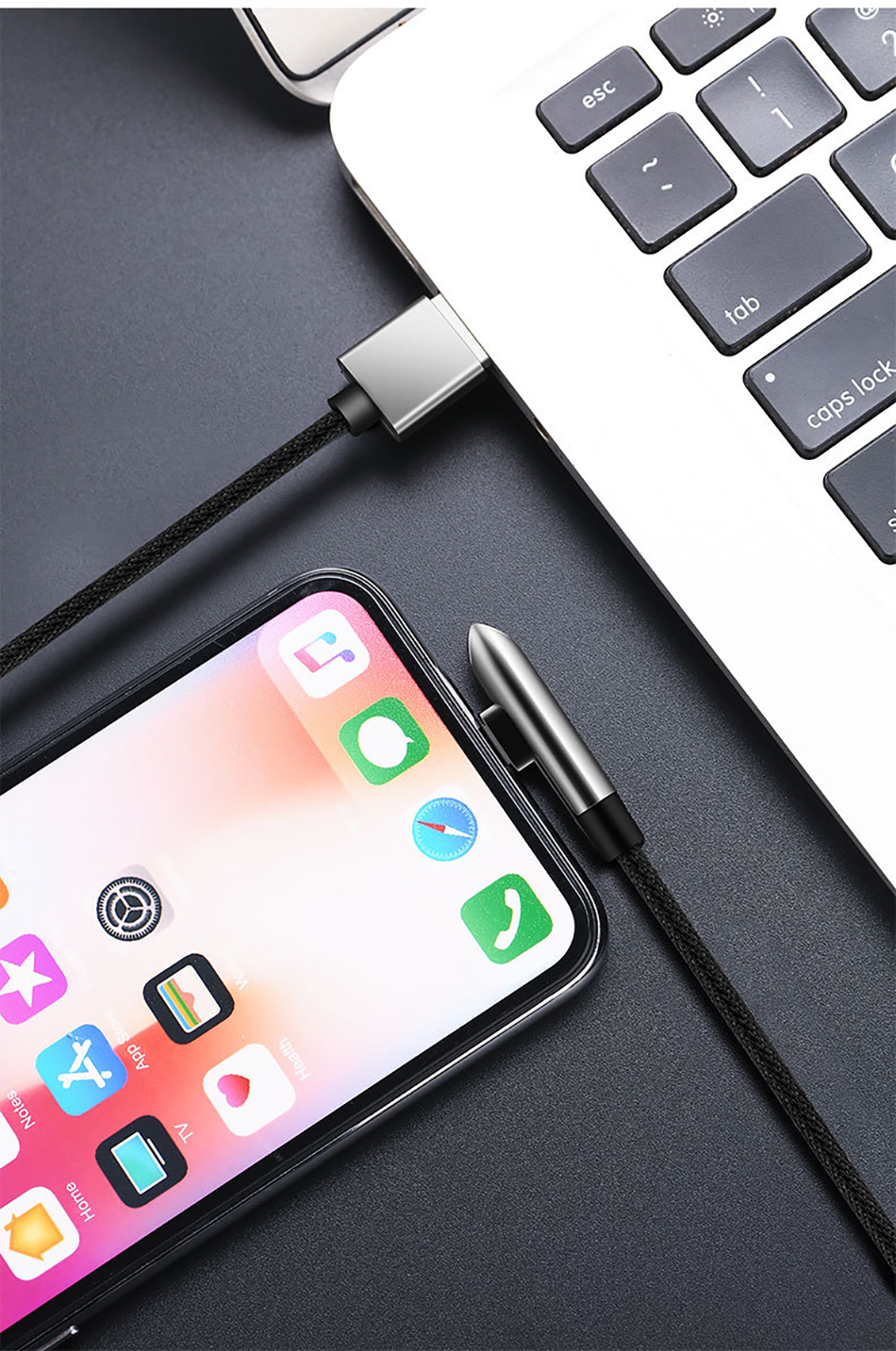 !ACCEZZ USB Cable For Apple iPhone X XS MAX XR 8 7 6 6S 5 5S Plus IOS 10 11 12 Lighting Charger Bullet Style Data USB Cable Cord (13)