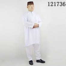 Muslim men abaya Polyester/cotton arab mens clothing stand collar embroidered 2 pieces Pakistan clothes & muslim thobe
