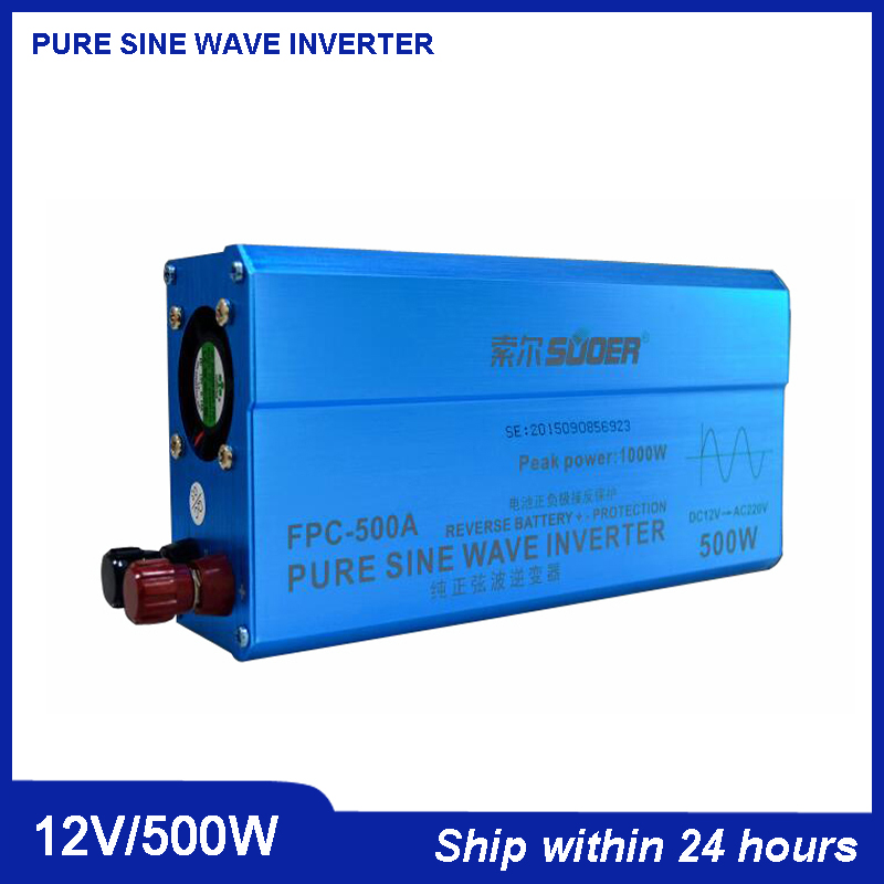 цена на Qualited DC to AC Pure Sine Wave Solar Power Inverter 500W DC12V to AC220V /Car Voltage Transformer with USB Port and Socket