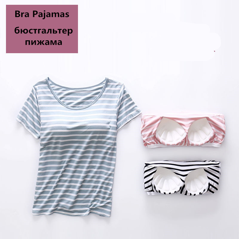 Cotton   Pajamas     Set   Women Sexy Stripe Pyjama Bra T-Shirt Shorts 2 Piece/  Set   Home Sleepwear Loose Size Tracksuit Top Fashion