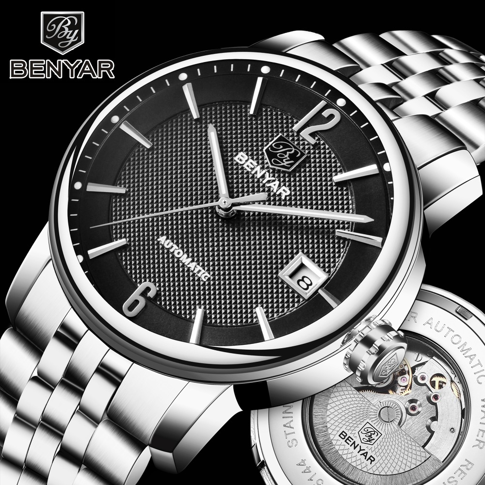 BENYAR Top Brand Luxury Mens Watches Business Full steel Fashion Casual Waterproof Automatic Watch Men s