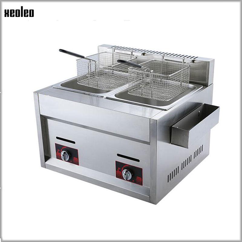купить XEOLEO Multifunction gas Fryer Stainless steel Frying Machine 12L Two Tanks Double Sieve Fryer Fried Chicken/Franch Fries 8000W по цене 21333.88 рублей