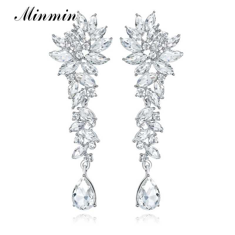 Minmin Elegan Cluster Crystal Pernikahan Bridal Drop Anting-Anting untuk Wanita Mewah Teardrop Menjuntai Panjang Klip/Pin Pada Anting-Anting MEH1566