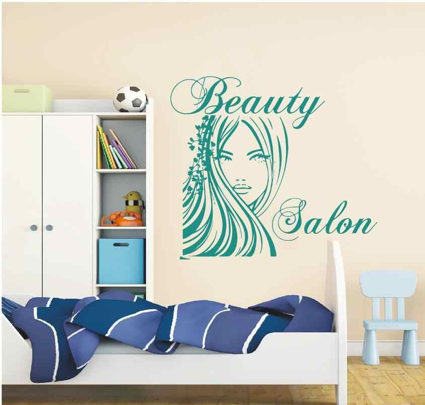 Beauty Salon Wall Stickers Decal Hairdressing Salon Decor Living Room Home  Interior Design Art Mural Wall Decor Salon Girl YO-91