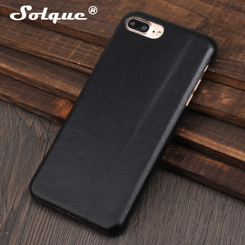 Solque Real Genuine Leather Matte Case for iPhone 7 8 6 6S Plus 7Plus 8Plus Cell Phone Luxury Ultra Thin Slim Hard Cover Cases