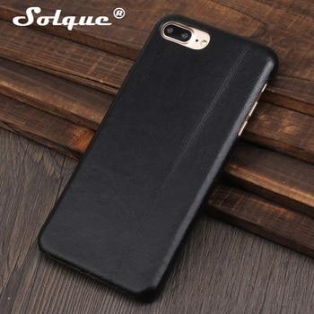 Solque Real Genuine Leather Matte Case for iPhone 7 8 6 6S Plus 7Plus 8Plus SE2020 Phone Luxury Ultra Thin Slim Hard Cover Cases