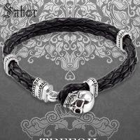accessories Bracelet Woven Leather Wrap Skull with Toggle Crap New Silver Fashion Jewelry Punk Gift Men Boy Women Girls mens