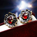 Vintage collection Women Rose Style Studs Red Stone Premium Quality Black Gold Plated Free shipping Women Stud Earrings